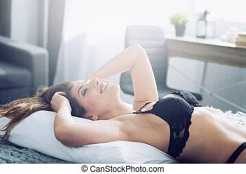 m�dchen, entspannen, rest, begriff, morning., bett, entspannend, während, sexy