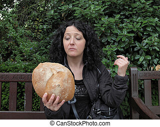 m�dchen, essende, bread