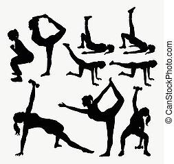 m�dchen, fitness, silhouetten
