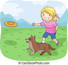 m�dchen, frisbee, hund, kind