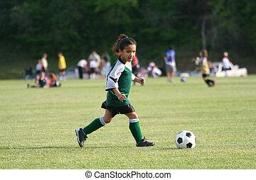 m�dchen, fußball, junger, spielende