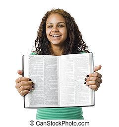 m�dchen, hält, bibel
