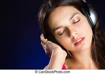 m�dchen, hören musik