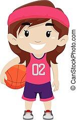 m�dchen, haltend basketball