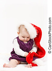 m�dchen, hut, weihnachten, santa, kind