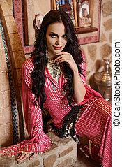 m�dchen, in, arabisches , tanzen, kostüm