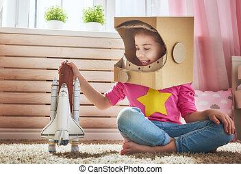 gemacht rocket hand angezogene astronaut kost m. Black Bedroom Furniture Sets. Home Design Ideas