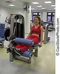m�dchen, in, fitnesscenter