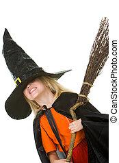 m�dchen, in, halloween, kleidung