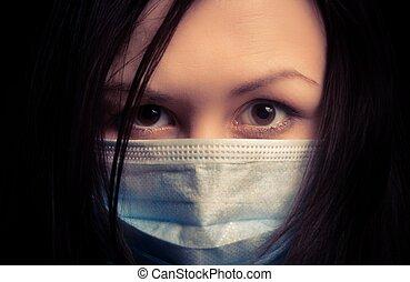 m�dchen, in, schützende maske