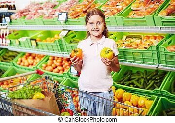 m�dchen, in, supermarkt