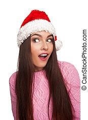 m�dchen, in, weihnachtshut, nahaufnahme, bild
