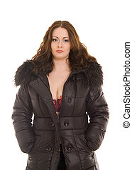m�dchen, in, winterjacke