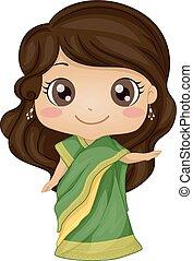 m�dchen, indisches kostüm