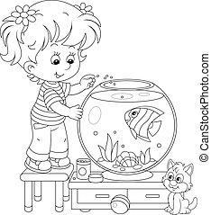m�dchen, kã¤tzchen, fische, aquarium, klein