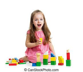 m�dchen, kind, spielen block, spielzeuge