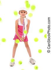 m�dchen, kind, tennisspieler, pelted, mit, tenniskugeln