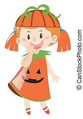 m�dchen, kostüm halloween, kã¼rbis