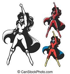 m�dchen, kostüm, superhero