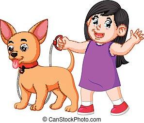 m�dchen, laufenden hund, sie, glücklich