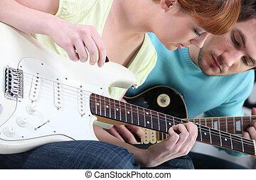m�dchen, lernen, spielen, gitarre