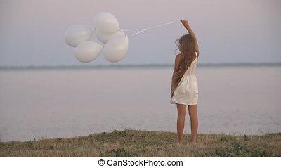 m�dchen, luftballone, weißes