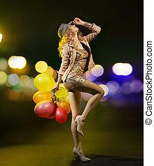 m�dchen, luftballone, wohlproportioniert, junger