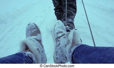 m�dchen, Mann, Schnee, clipart kinderschlitten, brötchen