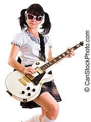 m�dchen, mit, a, gitarre
