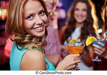 m�dchen, mit, cocktail