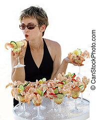 m�dchen, mit, garnele, cocktails