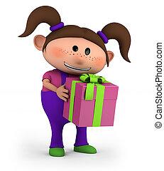 m�dchen, mit, geschenk