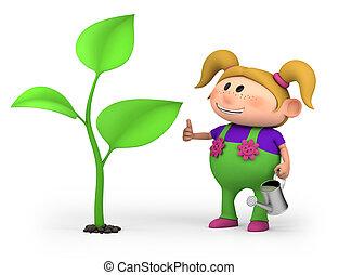 m�dchen, mit, groß, pflanzenkeim