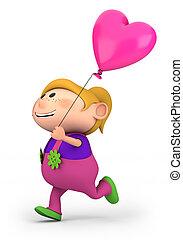 m�dchen, mit, herz, balloon