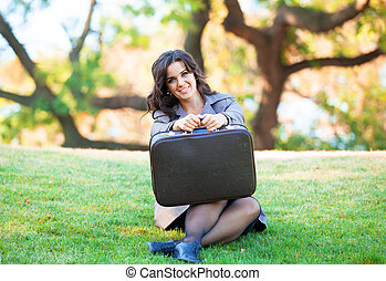 m�dchen, mit, koffer, an, outdoor.