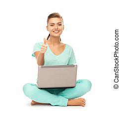 m�dchen, mit, laptop, ausstellung, daumen hoch