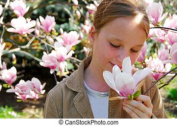 m�dchen, mit, magnolie