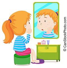 m�dchen, mit, measels, anschauen spiegel