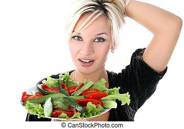 m�dchen, mit, salat