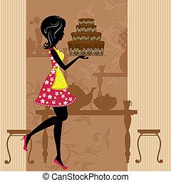m�dchen, mit, schokoladenkuchen