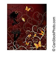m�dchen, mit, vlinders