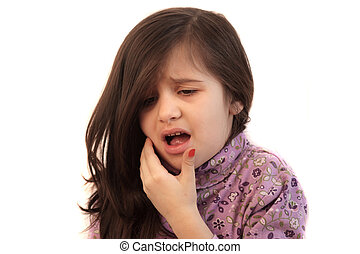 m�dchen, mit, zahnschmerzen