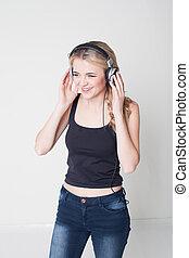 m�dchen, musik- hören, head-phones