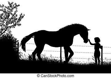 m�dchen, pferd