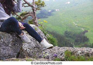 m�dchen, rand, sitzt, felsformation, träumende
