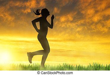 m�dchen, rennender , an, sonnenuntergang