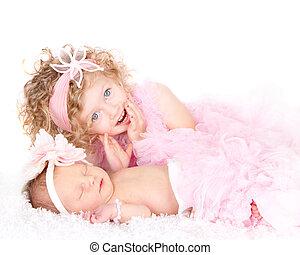 m�dchen, säugling, kleinkind, schwester, sie