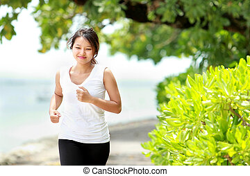 m�dchen, sandstrand, jogging