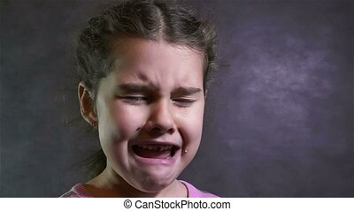 m�dchen, schreie, jugendlich, tränen, fließen, porträt,...