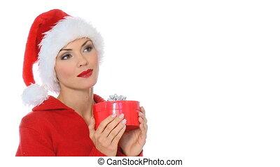 m�dchen, sexy, claus, santa, geschenk, hut, ausstellung, kasten